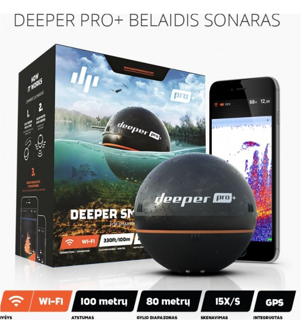 Echolotas Deeper Smart Pro+ Wifi+GPS +telefono laikiklis dovanų