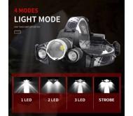 LED Galvos Žibintas BORUiT RJ-B22 Reguliuojamo Židinio 6000 lm