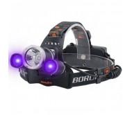 LED Žibintas ant Galvos BORUiT RJ-3000 UV ir Balta šviesa