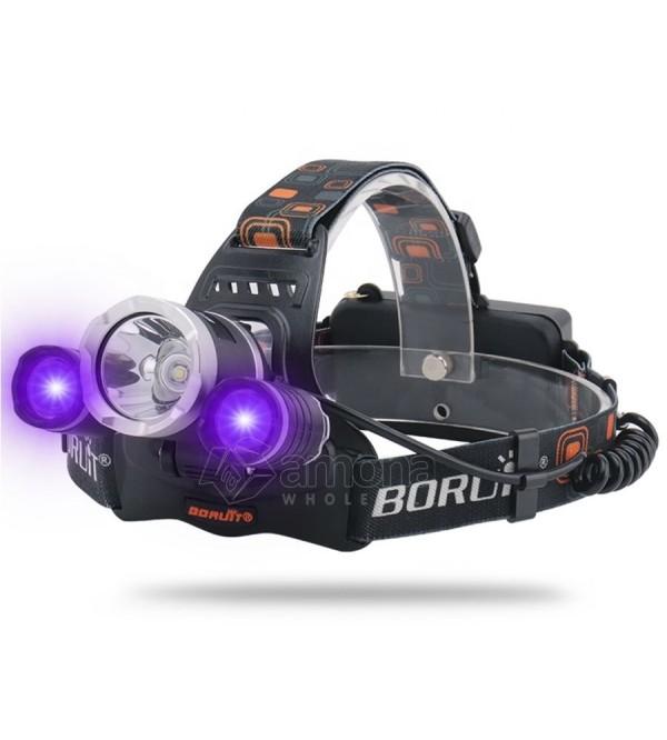 LED žibintas ant galvos BORUiT RJ-3000 UV ir baltos šviesos