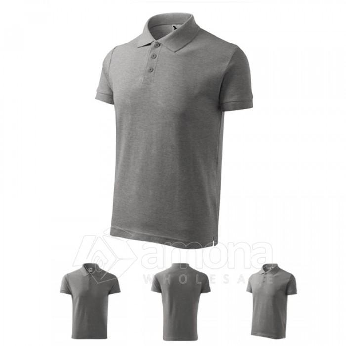 Polo marškinėliai ADLER Cotton Dark Gray Melange, vyriški